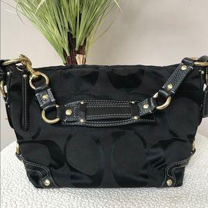 Black COACH Monogram Hobo Bag